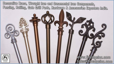 Decorative wrought iron and ornamental iron components, fencing hardware, railing parts, gate grill parts,wrought iron hardware & accessories manufacturers exporters in India UK, USA, Germany, Italy, Canada, UAE http://www.finedgeinc.com contact no. +91-8289000018, +91-9815651671 sales@finedgeinc.com